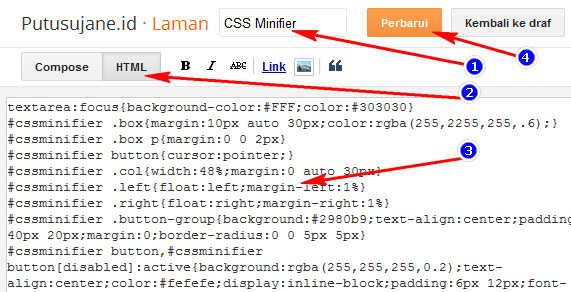 Membuat CSS Minifier di Blog Terbaru