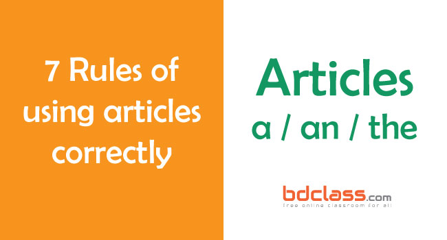 Rules for Using Articles in English Correctly