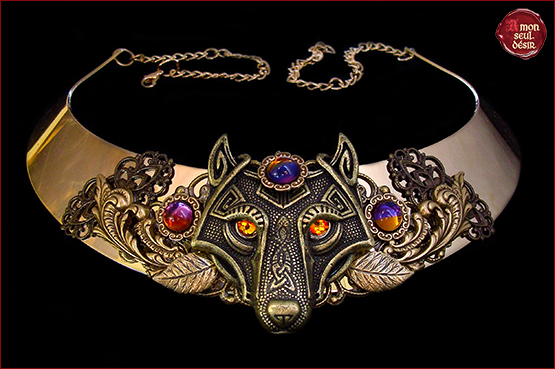 collier loup medieval bronze reinegame of thrones