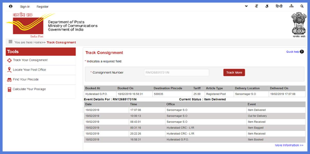 registered post tracking