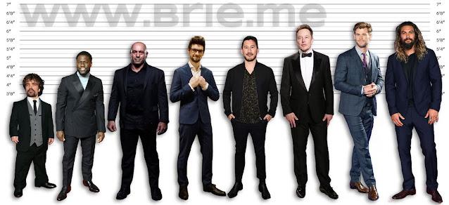 Peter Dinklage, Kevin Hart, Joe Rogan, Jacksepticeye, Markiplier, Elon Musk, Chris Hemsworth, and Jason Momoa Height comparison