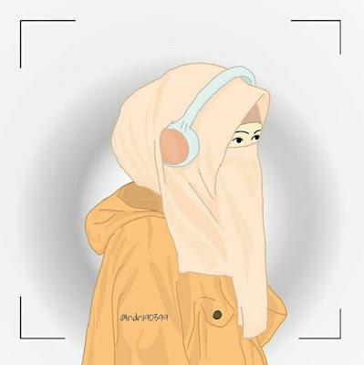 kartun vektor muslimah cadar