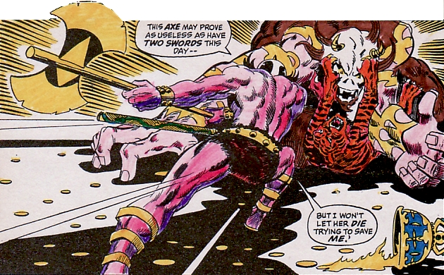 Conan the Barbarian #5, Zukala's Daughter, Jaggta-Noga and Zephra the tigress fight, Barry Windsor Smith