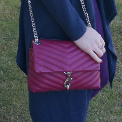 navy cardigan with Rebecca Minkoff Edie small crossbody bag in magenta   awayfromtheblue
