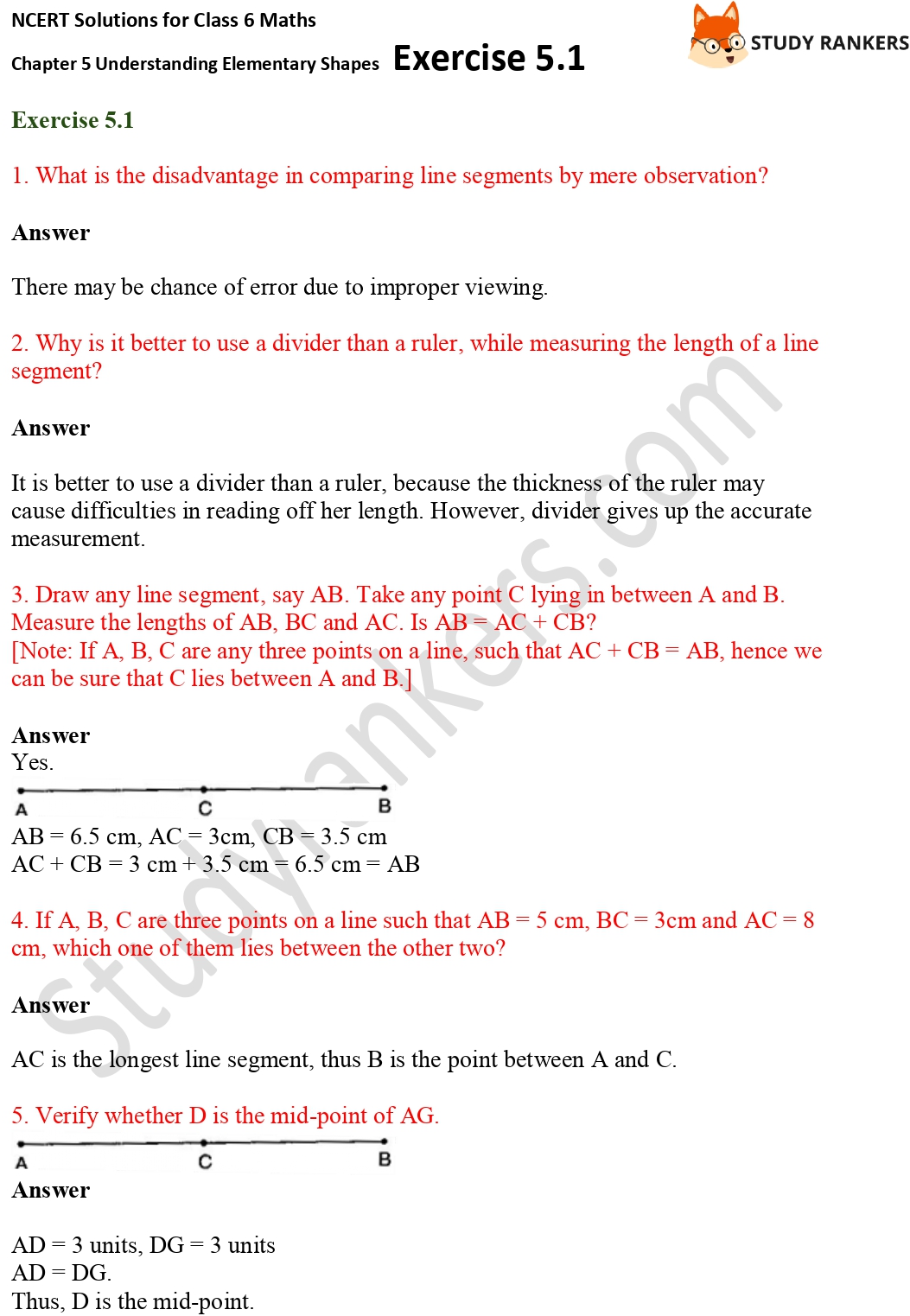 NCERT Solutions for Class 6 Maths Chapter 5 Understanding Elementary Shapes Exercise 5.1 Part 1