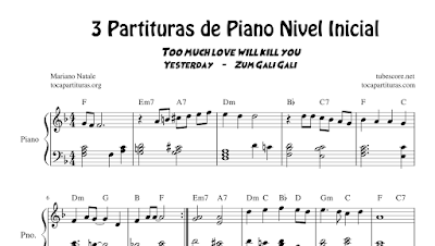 DIEGOSAX 3 Partituras de Piano a 4 Manos Nivel Inicial Partitura de Yesterday (The Beatles), Zum Gali Gali (Tradicional Israelí) y Too much love will kill you de Queen - Pianistas y Clases de Piano
