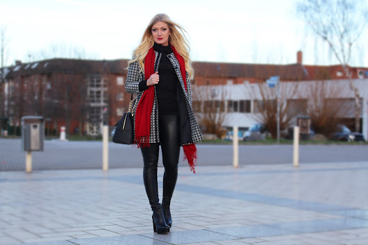 Red scarf with black and white