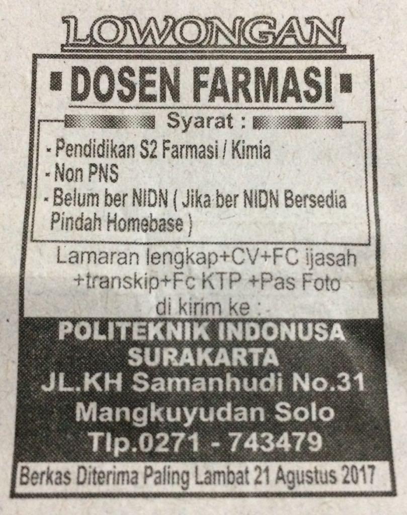 Lowongan Dosen Farmasi Politeknik Indonusa Surakarta Agustus 2017