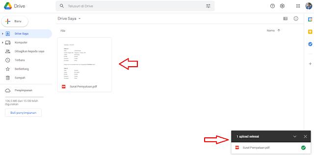 Proses Upload File ke Google Drive Lewat Komputer atau Laptop