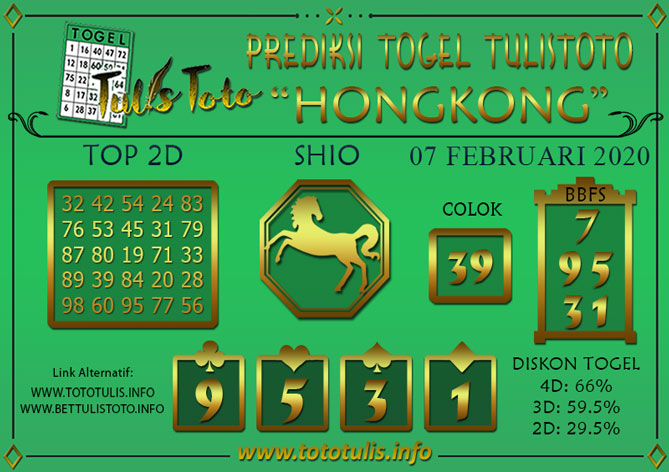 Prediksi Togel HONGKONG TULISTOTO 07 FEBRUARI 2020