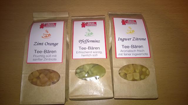 Tee Bären in den Sorten Zimt-Orange, Pfefferminz und Ingwer Zitrone.
