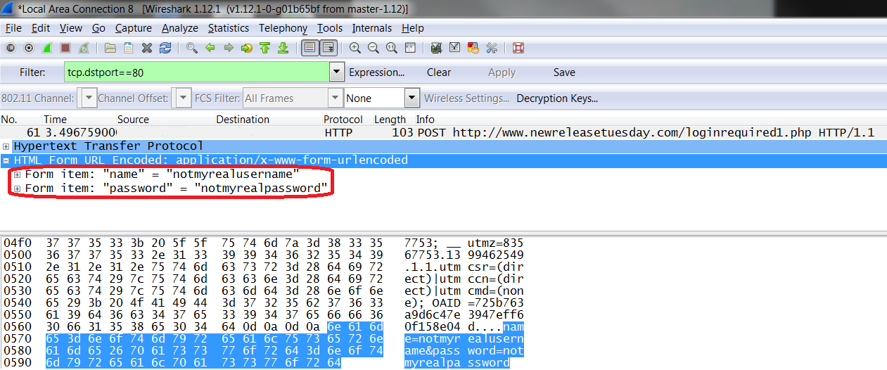 The New Release Tuesday login page does not use HTTPS, thus a Wireshark capture of the conversation shows the username and password in clear text.