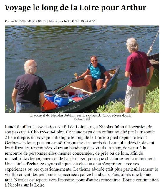 Nicolas Jubin sur la Loire pour la Trisomie 21