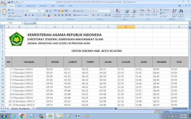 Jadwal Imsakiyah Ramadhan 1442 H Kabupaten Aceh Selatan, Provinsi Aceh