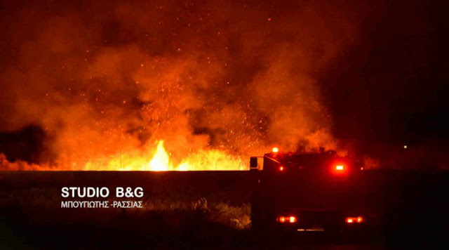 Μάχη των πυροσβεστών το βράδυ της Κυριακής σε φωτιά στη Μεσσηνία