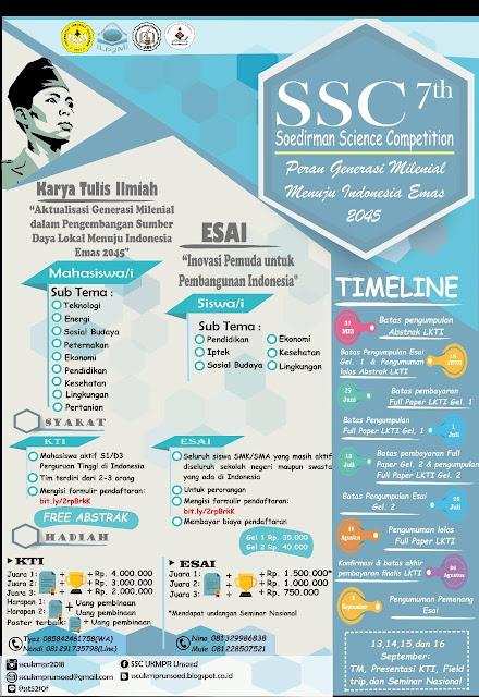 Lomba Esai Tingkat Nasional Siswa/Mahasiswa SSC 2018 Univ. Jenderal Soedirman