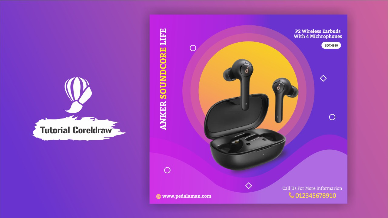 Membuat desain template earphone bluetooth di coreldraw