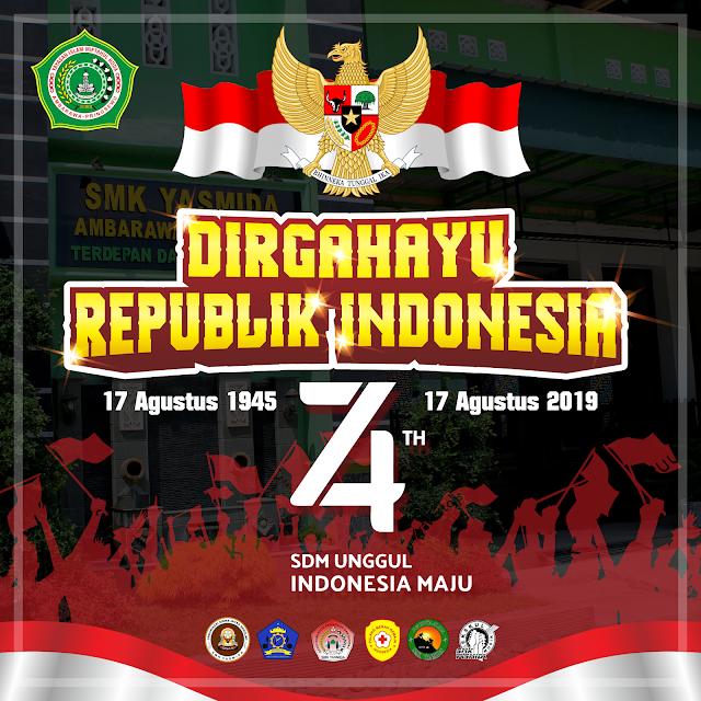 Desain Ucapan Dirgahayu Republik Indonesia ke 74 Tahun