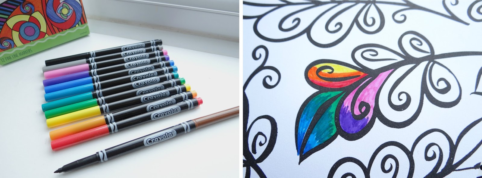 Crayola colouring, adult colouring, markers and pencils