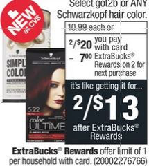 Got2b or Any Schwarzkopf Hair Color
