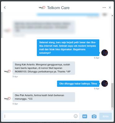 komplain telkom via twitter @telkomcare