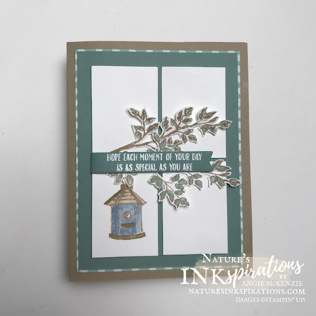 """By Angie McKenzie for the Crafty Collaborations Crafty Challenge Blog Hop; Click READ or VISIT to go to my blog for details! Featuring the Garden Birdhouses Photopolymer Stamp Set and the Through It Together Cling Stamp Set along with the Pattern Party 12"""" x 12"""" Host Designer Series Paper from the 2021-2022 Annual Catalog by Stampin' Up!; #sketchchallenge #incolorscollection #gardenbirdhouses  #throughittogether #fussycutting #watercoloring #getwellcards #layeredcards #cardtechniques #craftychallengebloghop #stampinup #naturesinkspirations #makingotherssmileonecreationatatime"""