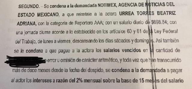 Pierde Sanjuana: La JFCA ordena reinstalar a la secretaria general del SutNotimex, Adriana Urrea Torres