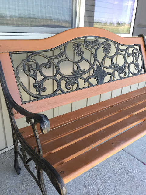 Restored Park Bench with Stain Spray Paint
