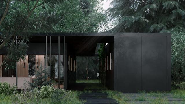 Villa Hitam Misterius Ini Terlihat Menyatu Dengan Hutan Sekelilingnya