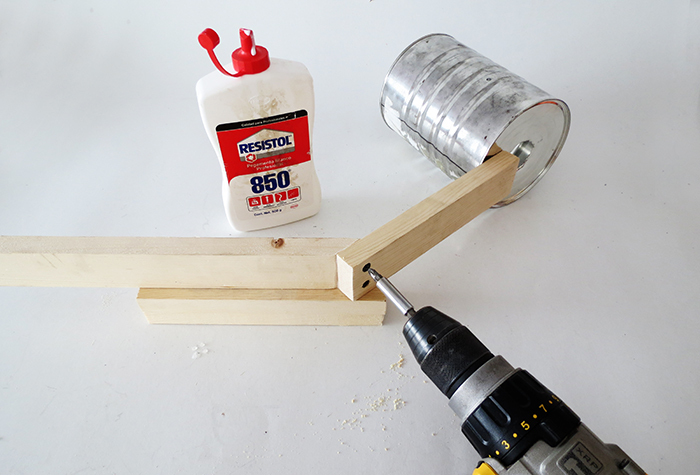 Diy Desk Lamp: Keep building the lamp foot, by fixing the 12 1/2 in. wood at the end of  the 8 in. one. The 45 degree angle next to the end of the first wood.,Lighting