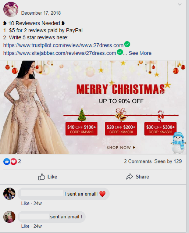 Babyonlinedress facebook group Christmas promotion