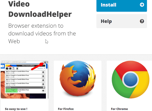 Download video menggunakan extensions Video DownloadHelper