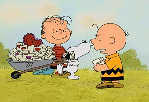 Charlie Brown kissed by Snoopy for Valentine's day