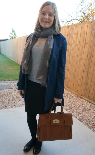 grey tee and pencil skirt in winter with feather embroidered scarf and bayswater tote | away from blue