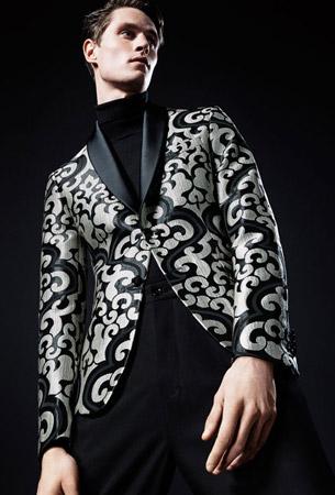 Zara fiesta hombre blazer jacquard contraste