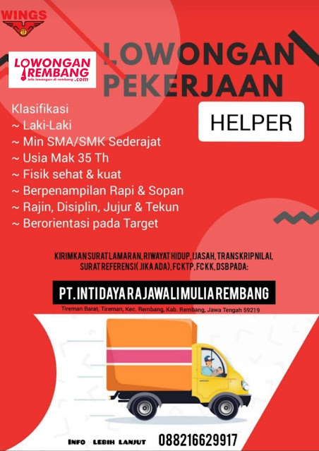 Lowongan Kerja Helper PT Inti Daya Rajawali Mulia Rembang