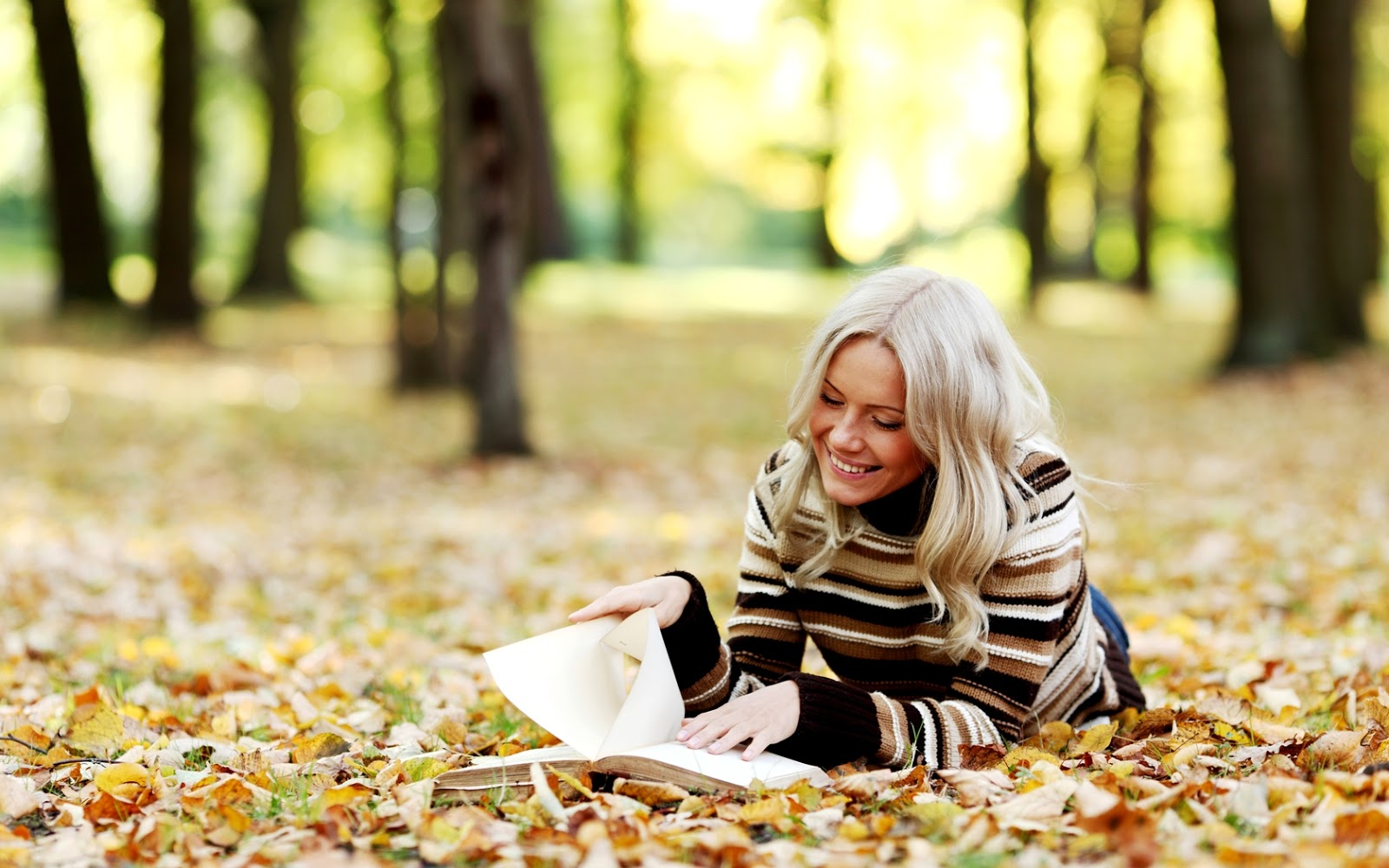 Blonde Girl Reading Book On Yellow Leaves Hd Autumn