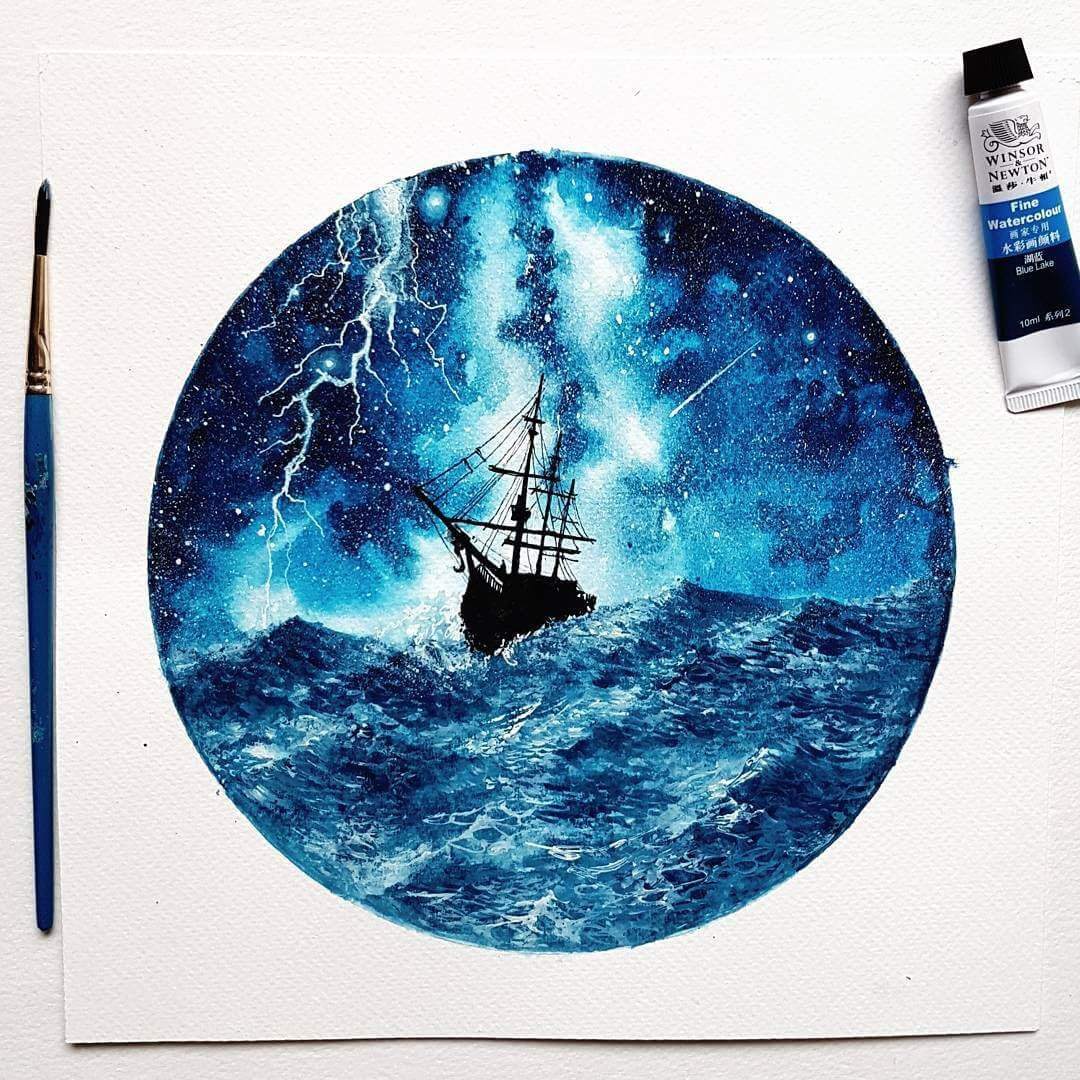 11-Waking-Up-07-Endure-Prakersh-Blue-and-Round-Fantasy-Watercolor-Paintings-www-designstack-co