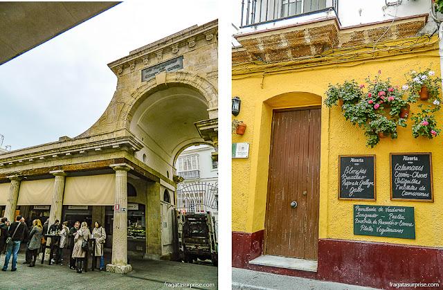 Mercado Central e restaurante no Bairro de La Viña, em Cádiz