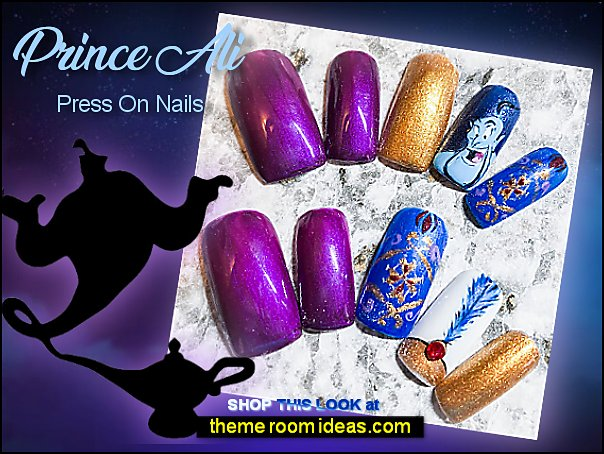 Prince Ali Press On Nails with Jewel  Aladdin nail art Genie Lamp Genie Magic Lamp Jasmine nails disney movies