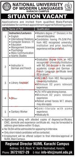National University of Modern Languages NUMS Karachi Jobs