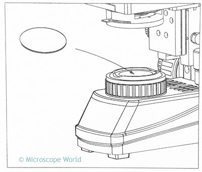Where to place a microscope filter on a microscope.