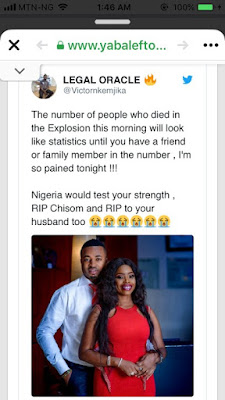 Newly married couple Die In Gas Explosion Which Rocked Abule Ado, Lagos (photos)