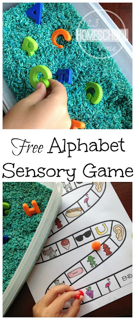 FREE Beginning Sounds Sensory Alphabet Game - This is such a fun, clever activity with so many extension activities. Perfect for literacy centers, sensory play, and so much more for toddler, preschool, prek, and kindergarten.