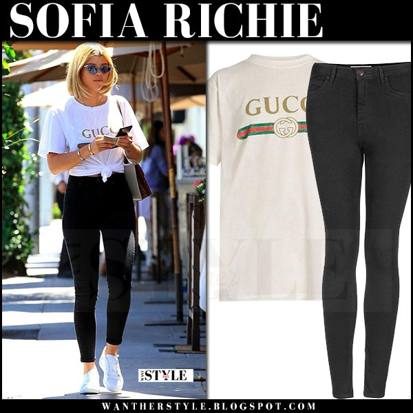 Sofia Richie in white gucci logo t-shirt and black super skinny jeans topshop what she wore streetstyle june 26 2017