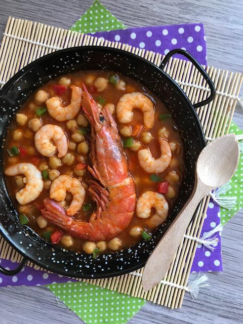 garbanzos a la marinera con langostinos y gambones receta
