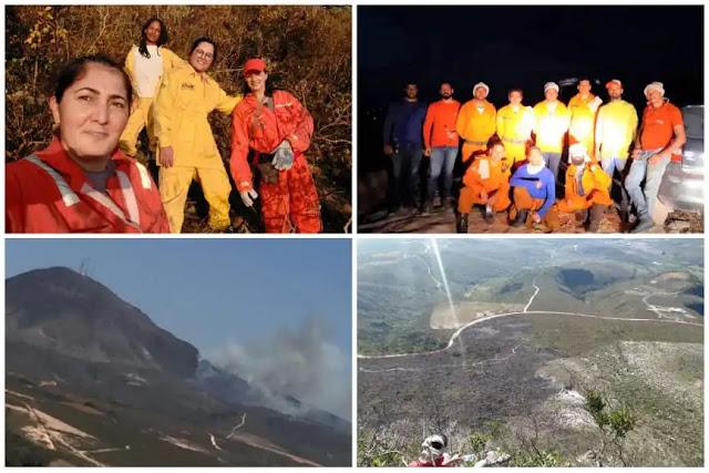 Incêndio em Barra da Estiva é controlado por voluntários; mulheres participam de combate