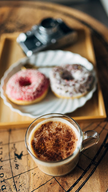 Coffee cup HD wallpaper, donuts, camera, table