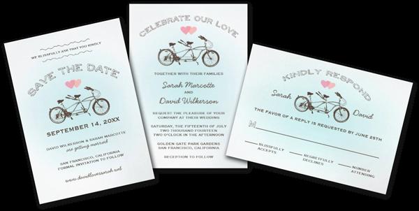 Tandem Bike Wedding Invitations: Wedding Cards And Gifts: Tandem Bicycle Wedding Invitation