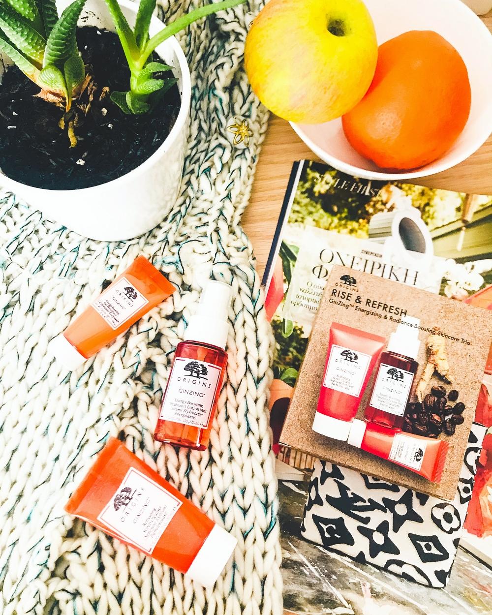 Origins Rise & Refresh Ginzing natural skincare travel set, vitamiin C skincare products